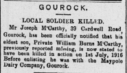William Burns McCarthy Killed